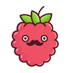 Kawaii mustache raspberry cartoon vector