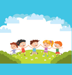 kids boys and girls plays and jump on a bright vector image