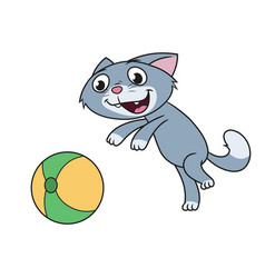 Kitten is playing with ball vector