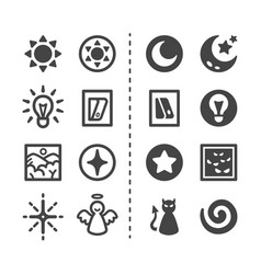 Light and dark icon set vector