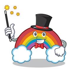magician colorful rainbow character cartoon vector image