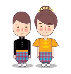 Makassar macassar province wedding couple cute vector