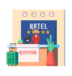 man at hotel hall or male at hostel reception vector image