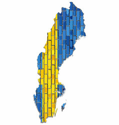 map of the swedish with flag inside vector image