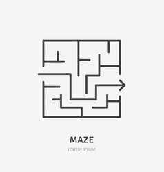 maze line icon labyrinth flat logo business vector image
