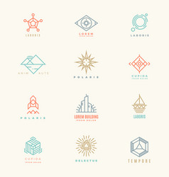 Minimal geometric vintage colors logo set vector