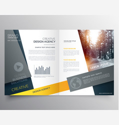 Modern bifold brochure design template or vector