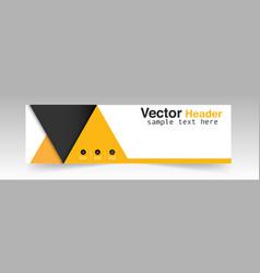 modern black yellow triangle header design backgro vector image