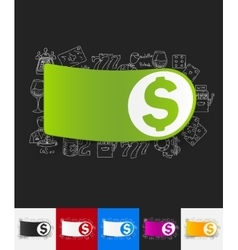 Money paper sticker with hand drawn elements vector