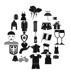 National clothes icons set simple style vector