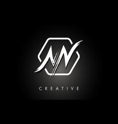 Nn n n brushed letter logo design with creative vector