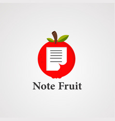 note fruit logo icon element and template vector image