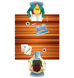 people on the working space top view vector image