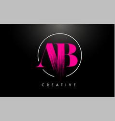 Pink ab brush stroke letter logo design vector