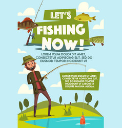 Poster of fisherman with fish rod vector