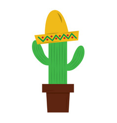 potted cactus and mexican hat decoration vector image