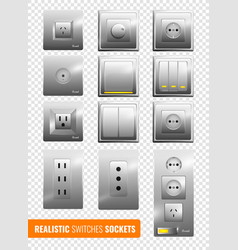 Realistic switches and sockets transparent vector