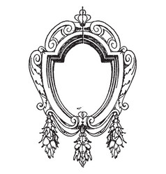 Renaissance strap-work frame was oval shape vector
