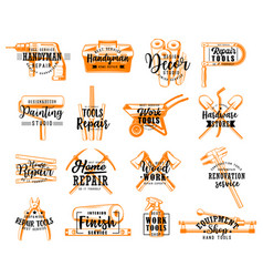 repair and renovation tools sketch lettering vector image