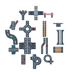 Road parts constructor icons set cartoon style vector