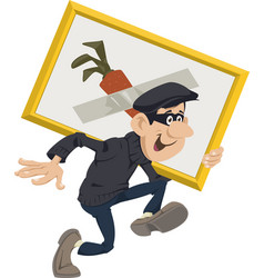 robber stealing artworks funny people vector image
