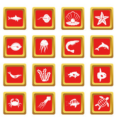 sea animals icons set red vector image