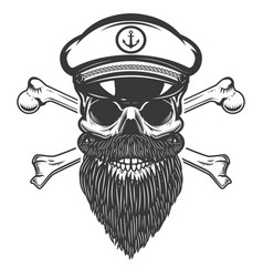 sea captain skull with crossbones isolated on vector image