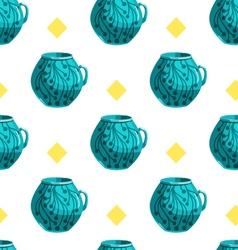 Seamless pattern with cartoon mugs-2 vector image