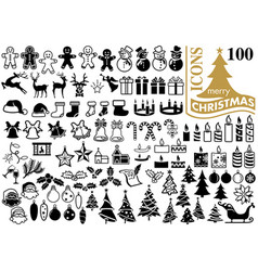 Set 100 christmas icons vector