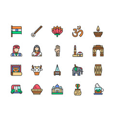set indian culture flat color line icons vector image