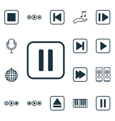 Set of 16 music icons includes mute song piano vector