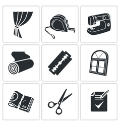 Sewing curtains service Icons Set vector image