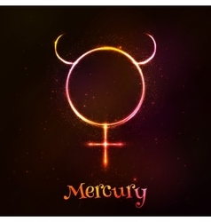 Shining neon zodiac mercury symbol vector