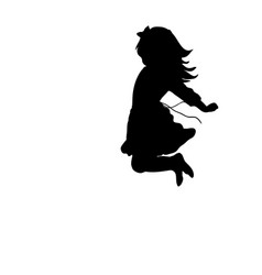 Silhouette happy girl jump up vector