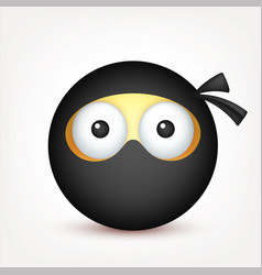Smiley ninja emoticon yellow face with emotions vector