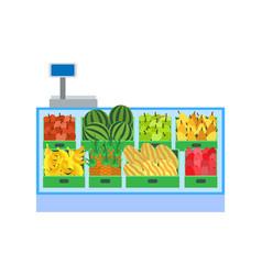 Supermarket fruits department showcase vector