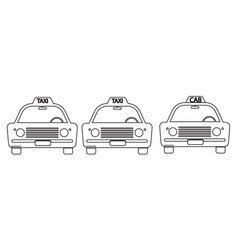 taxi cab vintage front view outline set three vector image