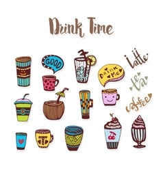 Tea and coffee doodle sketched icons Sketch icon vector