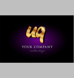 uq u q 3d gold golden alphabet letter metal logo vector image