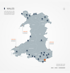 Wales infographic map vector