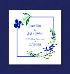 watercolor floral anniversary frame invitation vector image