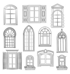 window set in different architectural style vector image