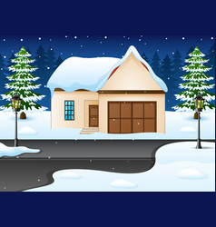 winter night landscape with vector image