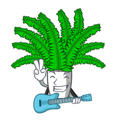 with guitar cartoon natural green fern in the vector image