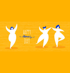 womens day web banner with happy girls dancing vector image