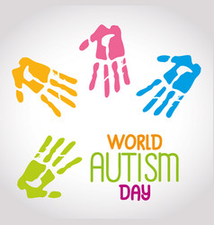 World autism day with handprints vector