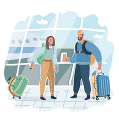 young couple is standing in airport on orange vector image