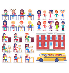 children during lessons and ride in school bus vector image vector image