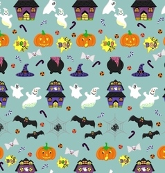 Halloween seamless pattern with festive objects vector