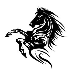 Horse tattoo symbol new year for design isolated v vector image vector image